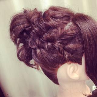 アップスタイル 三つ編み ショート ゆるふわ ヘアスタイルや髪型の写真・画像 ヘアスタイルや髪型の写真・画像