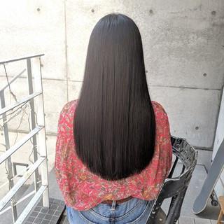 切りっぱなし 前髪パッツン 黒髪 ロング ヘアスタイルや髪型の写真・画像 ヘアスタイルや髪型の写真・画像