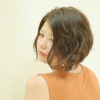 くせ毛風 パーマ ボブ 大人かわいい ヘアスタイルや髪型の写真・画像