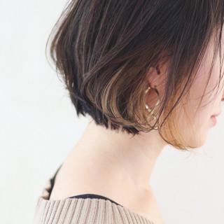 外国人風 グレージュ ハイライト インナーカラー ヘアスタイルや髪型の写真・画像