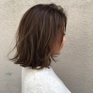 大人かわいい ロブ ボブ ベージュ ヘアスタイルや髪型の写真・画像