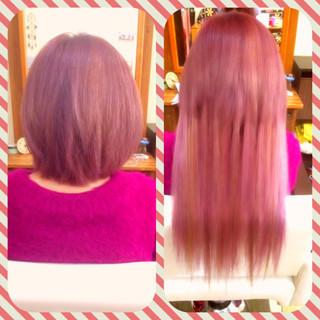 ピンク ラベンダーピンク ベージュ ボブ ヘアスタイルや髪型の写真・画像