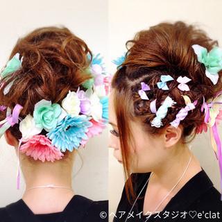 アップスタイル お祭り セミロング エクステ ヘアスタイルや髪型の写真・画像