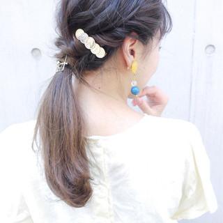 ヘアアレンジ 簡単ヘアアレンジ セミロング 結婚式 ヘアスタイルや髪型の写真・画像
