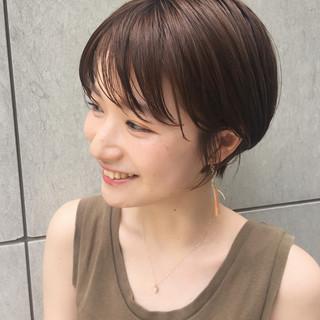 ショートボブ ナチュラル ひし形シルエット 小顔ショート ヘアスタイルや髪型の写真・画像
