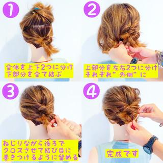 簡単ヘアアレンジ ナチュラル ヘアアレンジ 夏 ヘアスタイルや髪型の写真・画像