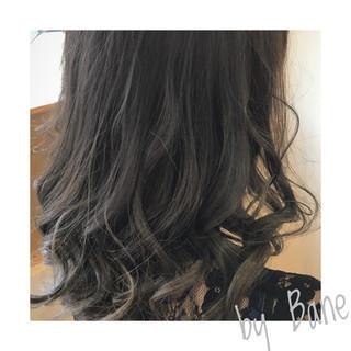セミロング 透明感 外国人風カラー ウェーブ ヘアスタイルや髪型の写真・画像