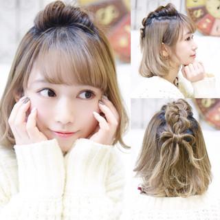簡単ヘアアレンジ ガーリー ヘアアレンジ ダブルカラー ヘアスタイルや髪型の写真・画像
