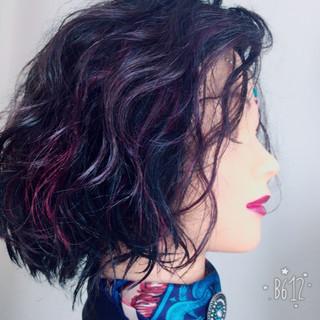 ボブ 暗髪 アンニュイ ウェットヘア ヘアスタイルや髪型の写真・画像