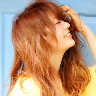 ヌーディベージュ キュート パーマ 夏 ヘアスタイルや髪型の写真・画像