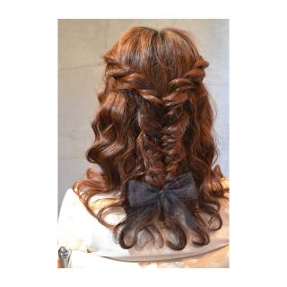 セミロング 三つ編み 愛され ヘアアレンジ ヘアスタイルや髪型の写真・画像