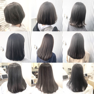 前髪 ナチュラル グレージュ ボブ ヘアスタイルや髪型の写真・画像