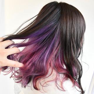 ピンク グラデーションカラー ミディアム ゆるふわ ヘアスタイルや髪型の写真・画像