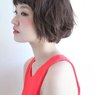 ヘアアレンジ アッシュ ガーリー ボブ ヘアスタイルや髪型の写真・画像