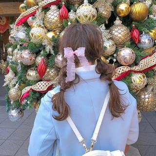 ヘアアレンジ デート ピンク ロング ヘアスタイルや髪型の写真・画像