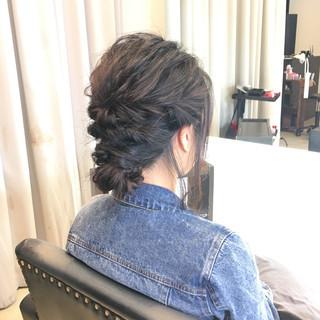 ショート 黒髪 ゆるふわ まとめ髪 ヘアスタイルや髪型の写真・画像