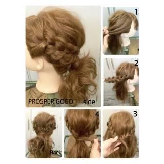 ミディアム ヘアアレンジ セルフヘアアレンジ 三つ編み ヘアスタイルや髪型の写真・画像 ヘアスタイルや髪型の写真・画像