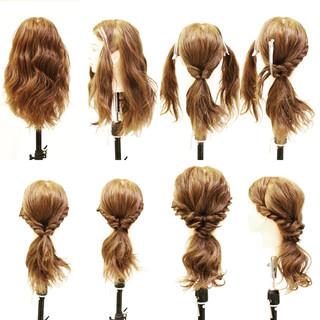 簡単ヘアアレンジ フェミニン ショート セミロング ヘアスタイルや髪型の写真・画像