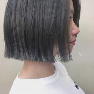 切りっぱなし グレージュ 秋 前髪なし ヘアスタイルや髪型の写真・画像 ヘアスタイルや髪型の写真・画像