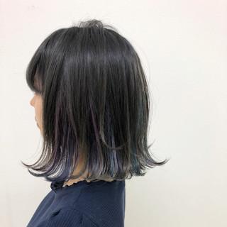 ガーリー ボブ インナーカラー ハロウィン ヘアスタイルや髪型の写真・画像