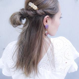 セミロング 簡単ヘアアレンジ 夏 涼しげ ヘアスタイルや髪型の写真・画像