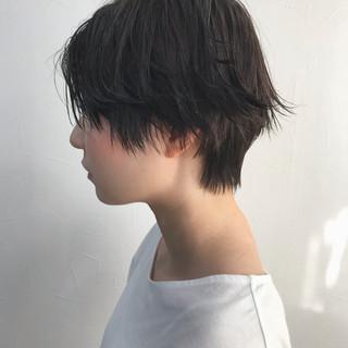ショートボブ セミウェット ウェットヘア 黒髪 ヘアスタイルや髪型の写真・画像
