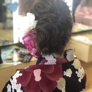 ヘアアレンジ セミロング 夏 花火大会 ヘアスタイルや髪型の写真・画像
