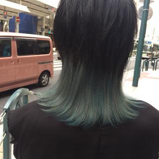 モード ミディアム ブリーチ ウルフカット ヘアスタイルや髪型の写真・画像