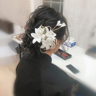 和装 フェミニン 成人式ヘア セミロング ヘアスタイルや髪型の写真・画像