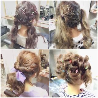 シースルーバング グラデーションカラー ゆるふわ ヘアアレンジ ヘアスタイルや髪型の写真・画像
