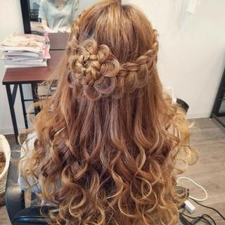 ヘアアレンジ ロング ハーフアップ 編み込み ヘアスタイルや髪型の写真・画像
