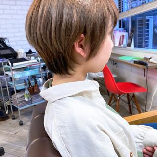 ミルクティーベージュ ミニボブ ショート ショートボブ ヘアスタイルや髪型の写真・画像