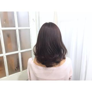 フェミニン 外国人風 セミロング ガーリー ヘアスタイルや髪型の写真・画像