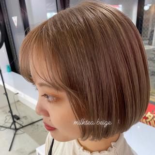 韓国風ヘアー ガーリー ミニボブ ミルクティーグレージュ ヘアスタイルや髪型の写真・画像