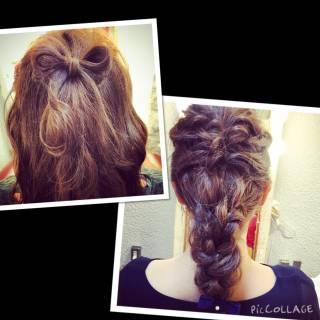 ナチュラル フェミニン 三つ編み ヘアアレンジ ヘアスタイルや髪型の写真・画像 ヘアスタイルや髪型の写真・画像
