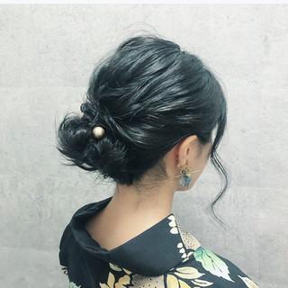 浴衣ヘア フェミニン 浴衣アレンジ 黒髪 ヘアスタイルや髪型の写真・画像