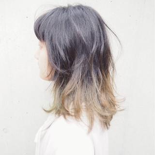 ダブルカラー ストリート ブリーチ ミディアム ヘアスタイルや髪型の写真・画像