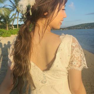 ウェーブ ガーリー 結婚式 ロング ヘアスタイルや髪型の写真・画像