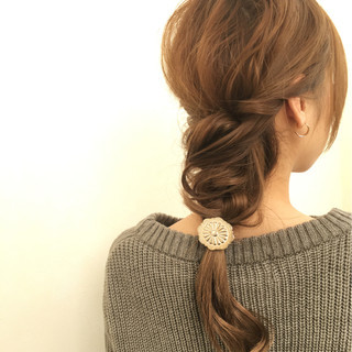 小顔 こなれ感 簡単ヘアアレンジ ロング ヘアスタイルや髪型の写真・画像