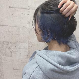 ストリート インナーカラー ブルー ショート ヘアスタイルや髪型の写真・画像