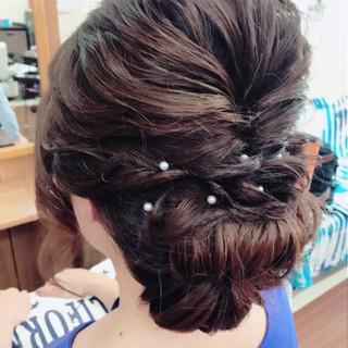 大人女子 結婚式 ナチュラル セミロング ヘアスタイルや髪型の写真・画像