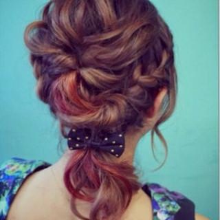結婚式 ガーリー 夏 編み込み ヘアスタイルや髪型の写真・画像