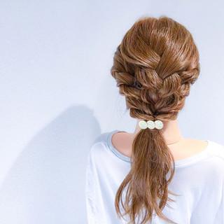 結婚式 アウトドア セミロング 簡単ヘアアレンジ ヘアスタイルや髪型の写真・画像
