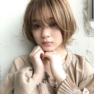 ショートパーマ 毛先パーマ ショート ナチュラル ヘアスタイルや髪型の写真・画像