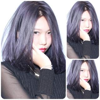 グレージュ アッシュ パープル ナチュラル ヘアスタイルや髪型の写真・画像