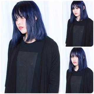ネイビー 暗髪 ブルー ストリート ヘアスタイルや髪型の写真・画像