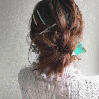 ヘアアレンジ 簡単ヘアアレンジ 黒髪 ナチュラル ヘアスタイルや髪型の写真・画像