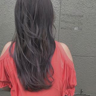 デート アッシュバイオレット パープル ロング ヘアスタイルや髪型の写真・画像
