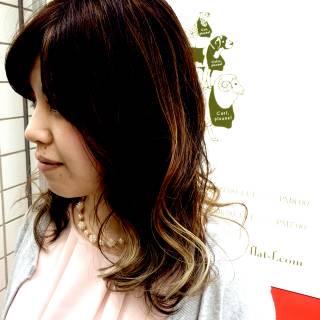 丸顔 セミロング 卵型 グラデーションカラー ヘアスタイルや髪型の写真・画像 ヘアスタイルや髪型の写真・画像