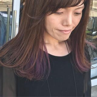 リラックス 大人かわいい パープル ストリート ヘアスタイルや髪型の写真・画像